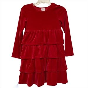 Hanna Anderson Dress Red Velour Tiered
